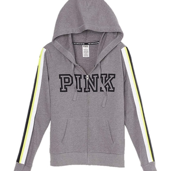 VICTORIAS SECRET PINK FAUX LEATHER LIMITED EDTION STRIPE HOODIE NWT